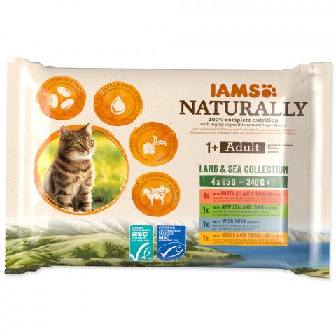 Kapsička IAMS Naturally mořské a suchozemské maso v omáčce multipack 4x85g title=