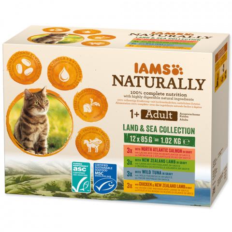 Kapsička IAMS Naturally mořské a suchozemské maso v omáčce multipack 12x85g  title=