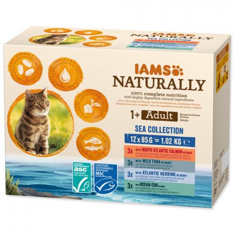 Kapsička IAMS Naturally mořské maso v omáčce multipack 12x85g title=