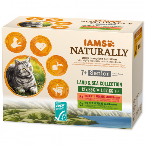 Kapsička IAMS Naturally Senior mořské a suchozemské maso v omáčce multipack 12x85g title=