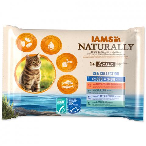 Kapsička IAMS Naturally mořské maso v omáčce multipack 4x85g title=