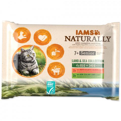 Kapsička IAMS Naturally Senior losos & jehněčí v omáčce multipack 4x85g title=