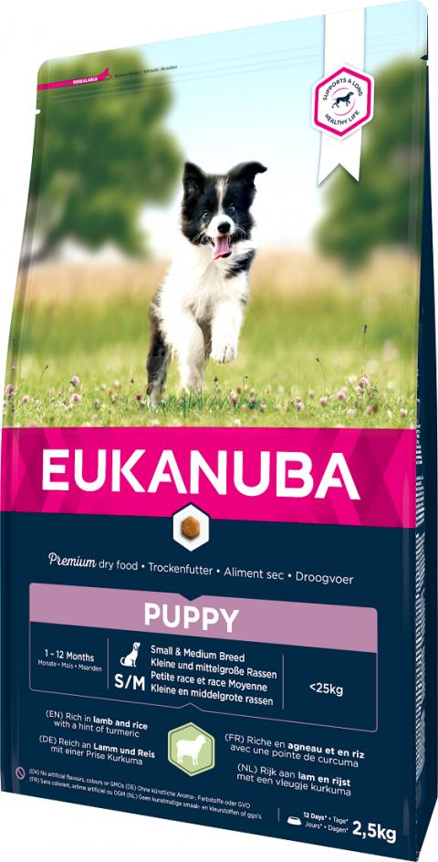 Eukanuba Puppy Small & Medium Lamb 2,5kg title=
