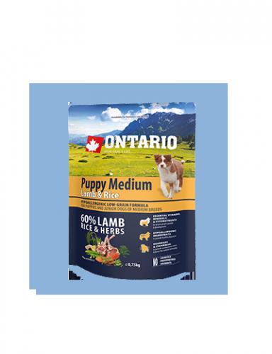 Ontario Puppy Medium<br />Lamb & Rice 0,75kg