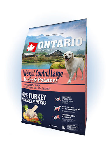 Ontario Large Weight Control Turkey & Potatoes 2,25 kg