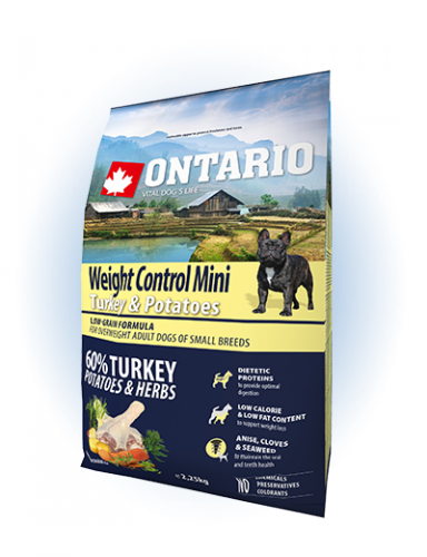 Ontario Mini Weight Control Turkey & Potatoes 2,25kg