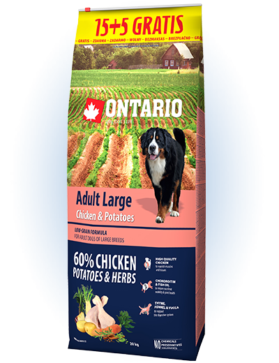 Ontario Adult Large Chicken & Potatoes 15+5 kg zdarma