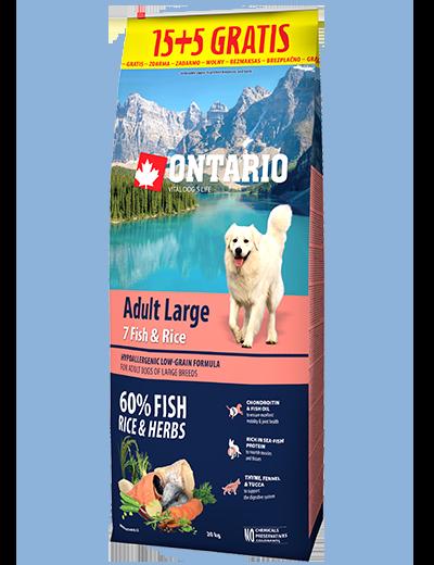 Ontario Adult Large Fish & Rice 15+5kg zdarma