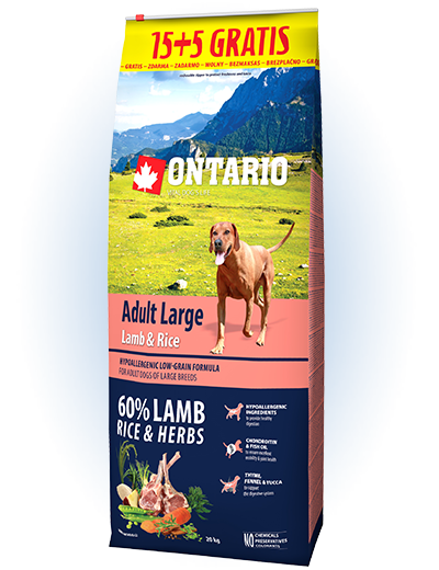 Ontario Adult Large Lamb & Rice 15+5 kg zdarma