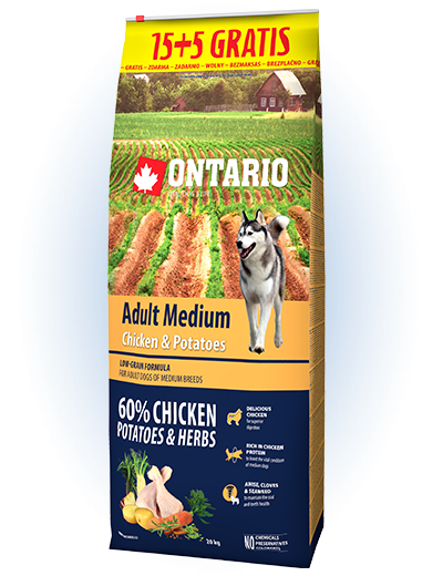 Ontario Adult Medium Chicken & Potatoes 15+5 kg zdarma