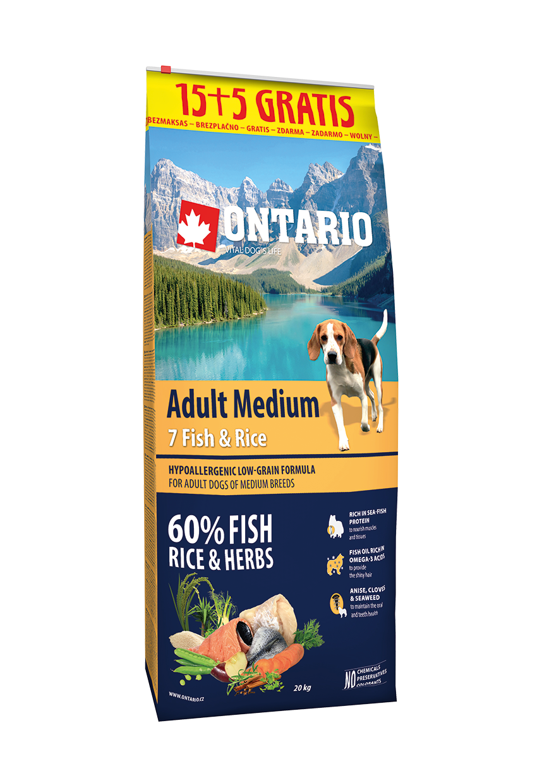 Ontario Adult Medium Fish & Rice 15+5 kg