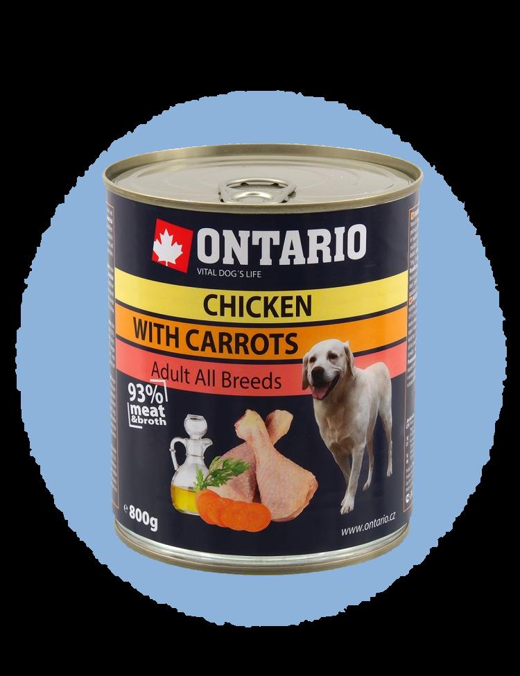 Konzerva Ontario Chicken, Carrots, Salmon Oil 800 g