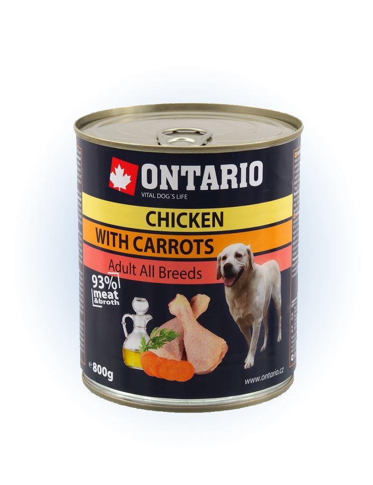 Konzerva Ontario Chicken, Carrots, Salmon Oil 800g
