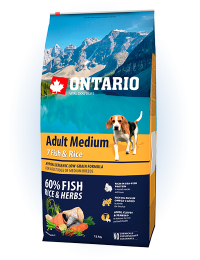 Ontario Adult Medium Fish & Rice 12 kg