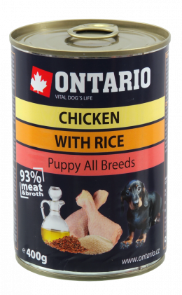 Konzerva Ontario Puppy Chicken, Rice and Linseed Oil 400 g
