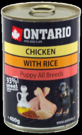 Konzerva Ontario Puppy Chicken, Rice and Linseed Oil 400g