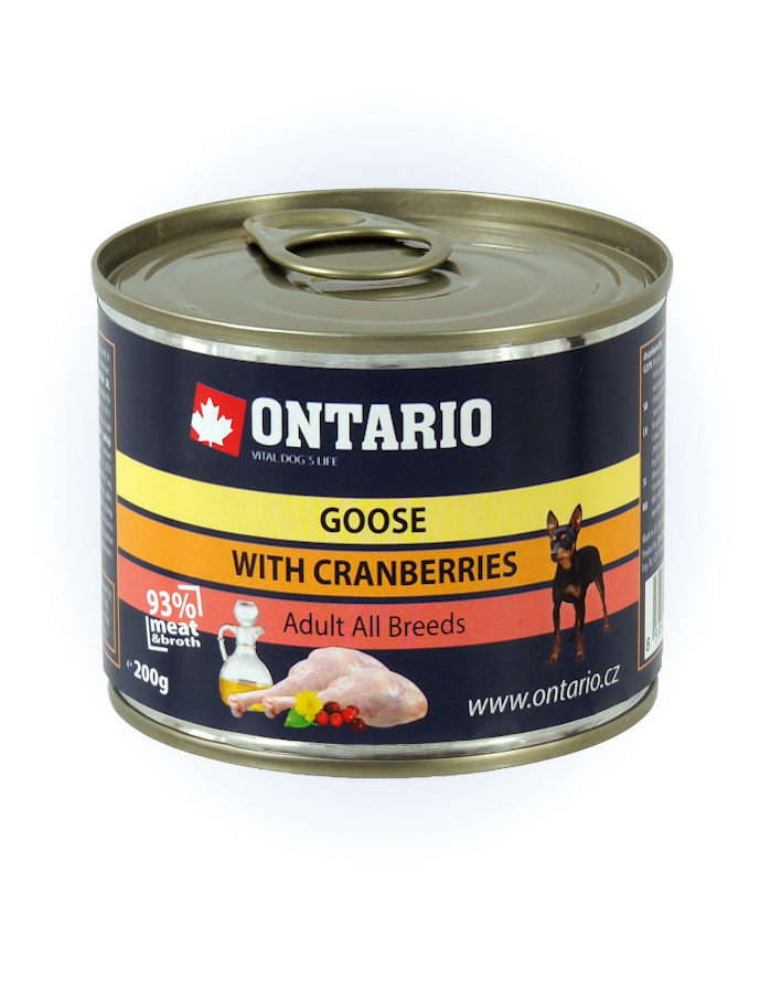 Konzerva Ontario Goose, Cranberries, Dandelion and linseed oil 200g