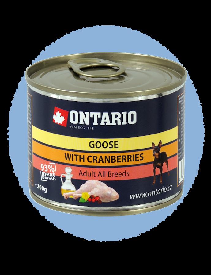 Konzerva Ontario Mini Goose, Cranberries, Dandelion and linseed oil 200 g