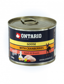 Konzerva Ontario Mini Goose, Cranberries, Dandelion and linseed oil 200 g