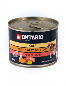 Konzerva Ontario Mini Calf, Sweetpotato, Dandelion and linseed oil
