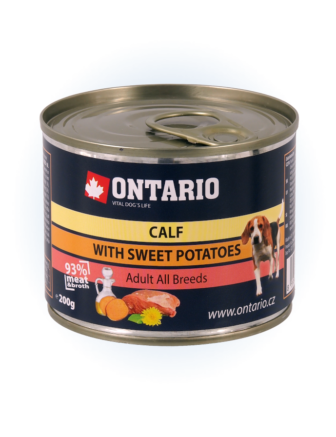 Konzerva Ontario Calf, Sweetpotato, Dandelion and linseed oil 200g
