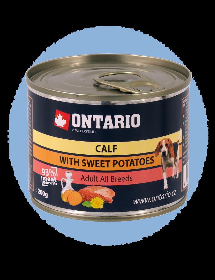 Konzerva Ontario Mini Calf, Sweetpotato, Dandelion and linseed oil 200 g