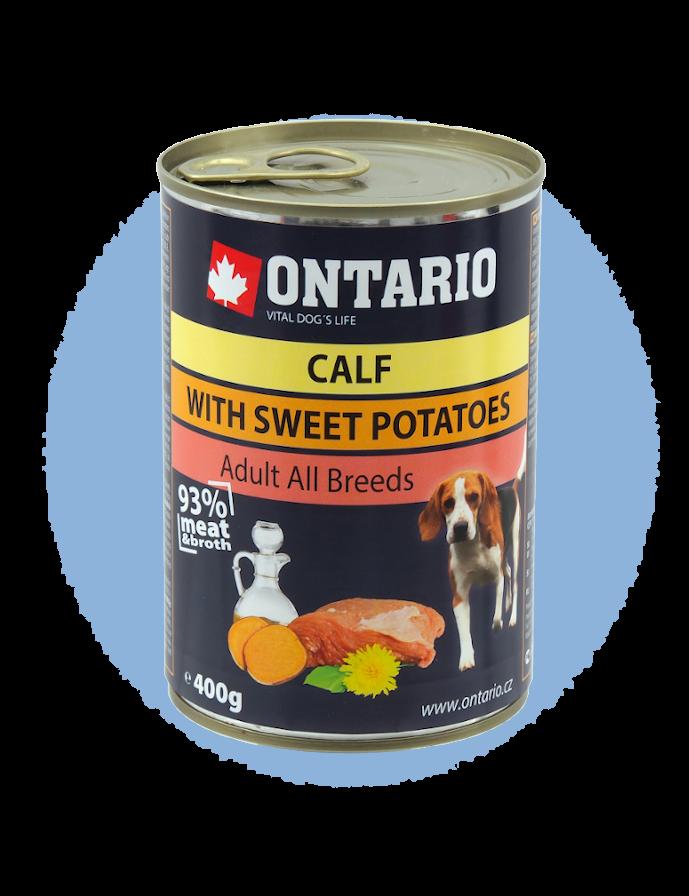 Konzerva Ontario Mini Calf, Sweetpotato, Dandelion and linseed oil 400 g
