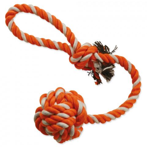Игрушка для собак - Мяч из ткани, на веревке, 45 см title=
