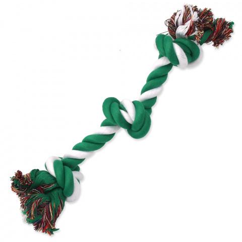 Rotaļlieta suņiem – Dog Fantasy Good's Cotton Rope with 3 Knots, green-white, 40 cm title=