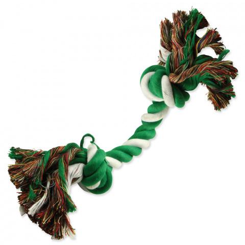 Rotaļlieta suņiem – Dog Fantasy Good's Cotton Playing Rope 2 knots, green-white, 20 cm title=