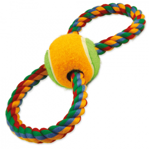 Rotaļlieta suņiem – DogFantasy Good's Cotton Colorful Eight with tennis ball, 25 cm title=