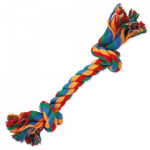 Rotaļlieta suņiem – Dog Fantasy Good's Cotton Colorful Playing Rope 2 knots, 20 cm title=