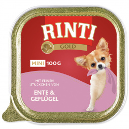 Konservi suniem - Rinti Gold Mini, pīle ar vistu, 100 g