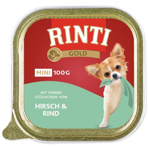 Konservi suņiem - Rinti Gold Mini, ar brieža un liellopa gaļu, 100g