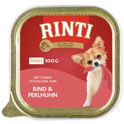 Konservi suņiem - Rinti Gold Mini, ar pērļu vistiņu un liellopu, 100g  title=