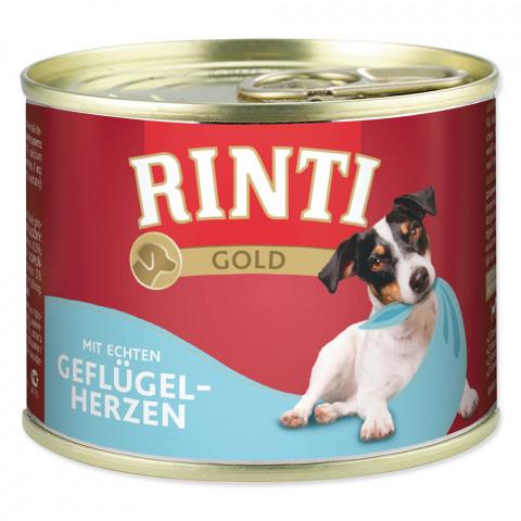 Konservi suņiem - Rinti Gold, ar cāļa sirdīm, 185 g title=