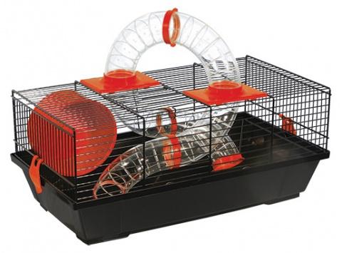 Būris pundurkāmjiem - Small Animal Libor, 50.5*28*21 cm, melns/sarkans title=