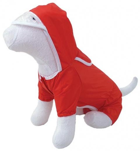 Lietus mētelis suņiem -  Plastenka DF, sarkans ar kapuci, 20cm