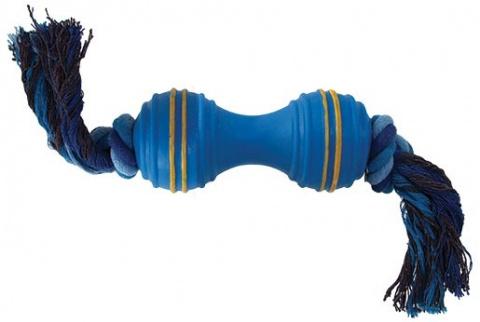 Rotaļlieta suņiem -  DogFantasy Gumijas hantele ar virvi, 35cm