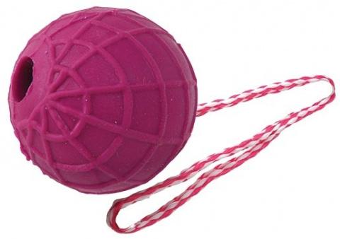 Rotaļlieta suņiem -  DogFantasy Gumijas bumba ar virves rokturi, 51*5cm title=