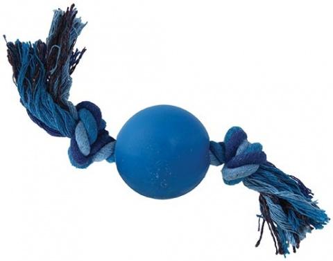 Игрушка для собак - DogFantasy веревка с мячом, синий, 5*19cm title=