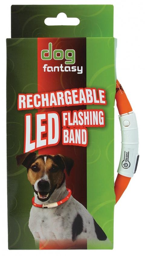 Atstarojošā kakla siksna - DogFantasy LED flashing band, rechargeable, 70cm, oranža title=