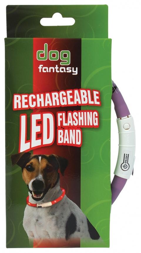 Atstarojošā kakla siksna - DogFantasy LED flashing band, rechargeable, 70cm, lillā