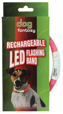 Atstarojošā kakla siksna - DogFantasy LED flashing band, rechargeable, 70cm, rozā
