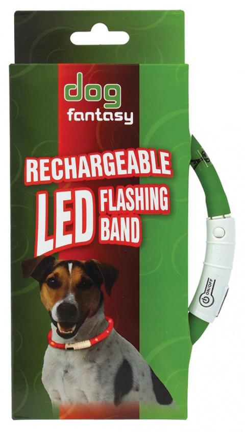 Atstarojošā kakla siksna - DogFantasy LED flashing band, rechargeable, 70cm, zaļa title=