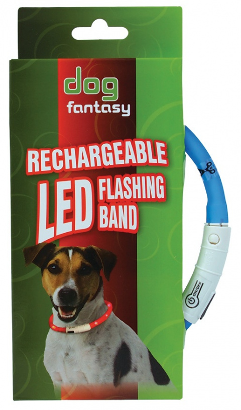 Atstarojošā kakla siksna - DogFantasy LED flashing band, rechargeable, 45cm, zila title=