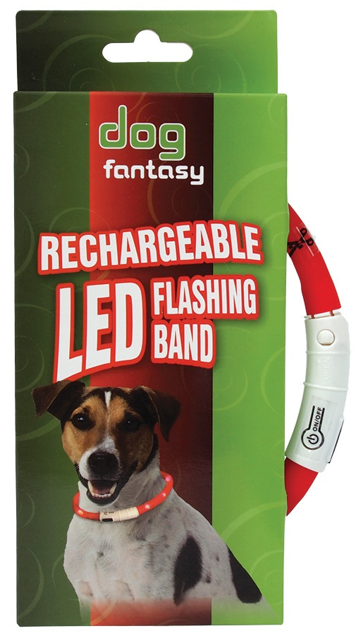 Atstarojošā kakla siksna - DogFantasy LED flashing band, rechargeable, 45cm, sarkana
