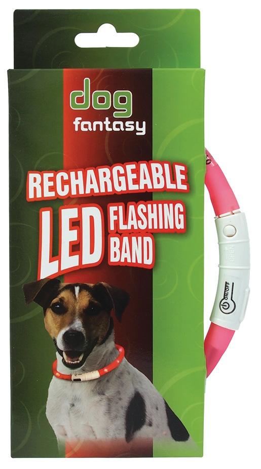 Atstarojošā kakla siksna - DogFantasy LED flashing band, rechargeable, 45cm, rozā