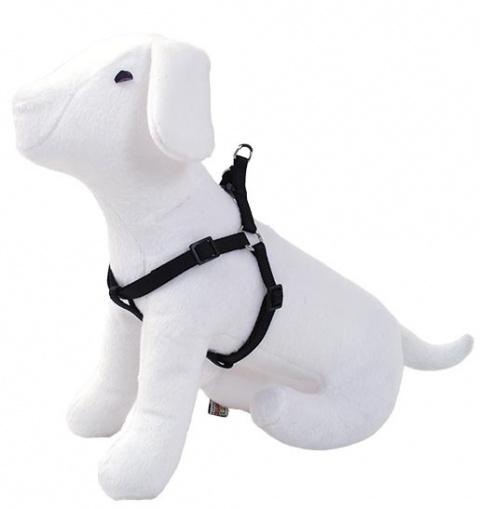 Шлейка - DogFantasy нейлоновая, 2,5cm, 60-90cm, черный title=