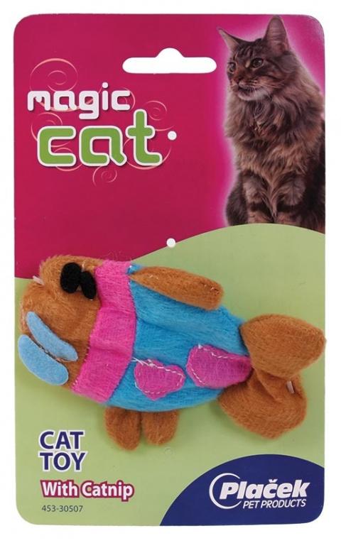Игрушка для кошек Плюшевая рыбка с кошачьей мятой 14cm title=